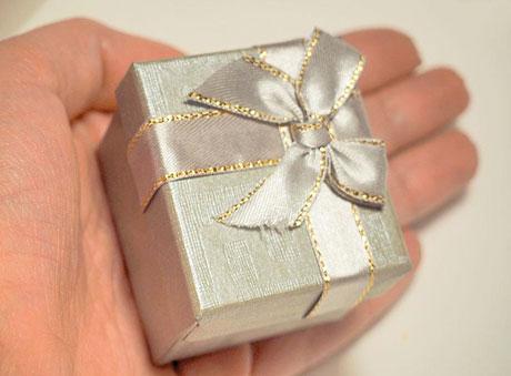 Minimal μπομπονιέρα κουτί ασημί