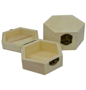 Ξύλινο κουτί εξάγωνο αλουστράριστο για μπομπονιέρα